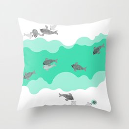 Ringed seal - Winter Arctic Throw Pillow