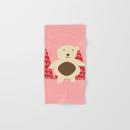 Christmas polar bear pink Hand & Bath Towel