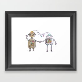 Cute robots in love II Framed Art Print
