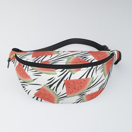 Watermelon slices on white black stripes on the background. Fanny Pack