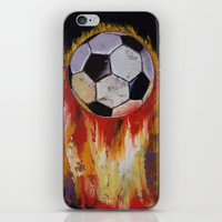 soccer iPhone & iPod Skins featuring Soccer by Michael Creese