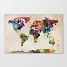 World Map Urban Watercolor Canvas Print