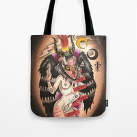 tits Tote Bags featuring Baphomet....With Tits by kate collins