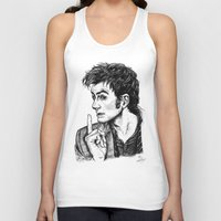 """david tennant Tank Tops featuring The Doctor - David Tennant - """"Fingers on Lips!"""" by ieIndigoEast"""