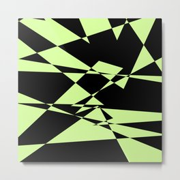 Lime And Black Puzzle Art Metal Print