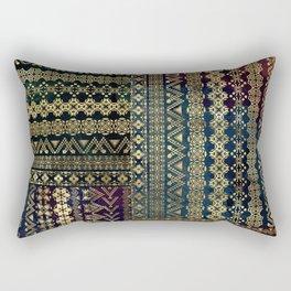 Ethnic Boho Golden Pattern on watercolor Rectangular Pillow