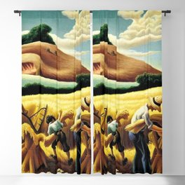 Classical Masterpiece 'Cradling Wheat' by Thomas Hart Benton Blackout Curtain