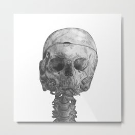 Memento Mori, Life Drawing of Skeleton Metal Print