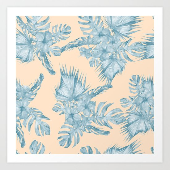 Tropical Flowers and Leaves Blue on Peach Coral Art Print