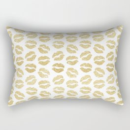 Gold Glitter Lips Rectangular Pillow