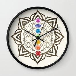Flower of Life Chakra Healing Mandala Wall Clock