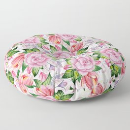 Watercolor pink lavender colorful hand painted roses flowers Floor Pillow