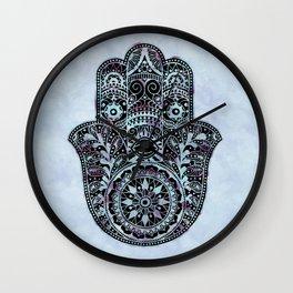 Watercolor Blue Pink Hamsa Hand Wall Clock