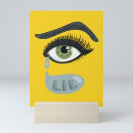 Green Lying Eye With Tears Mini Art Print