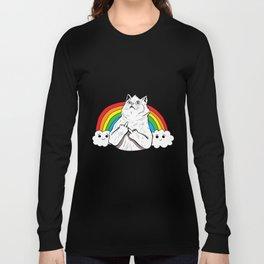 Fluff Off Rainbow Cat Long Sleeve T-shirt