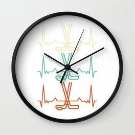 Hockey heartbeat ECG hockey stick Wall Clock