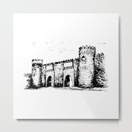 Old Tower Gate Ink Art Metal Print