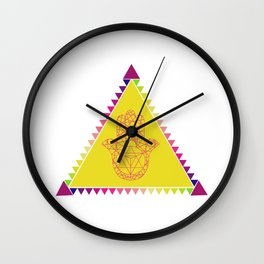 Merkaba Triangle Yellow Wall Clock