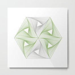 Optical illusion forming hexagon with triangles- Line composition forming different shapes Metal Print