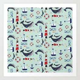 Ocean Blue Whale Aqua Art Print