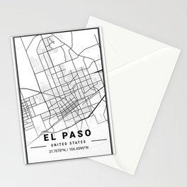 EL Paso Light City Map Stationery Cards