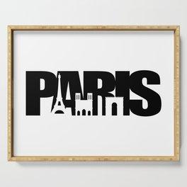 Paris Skyline Black Serving Tray