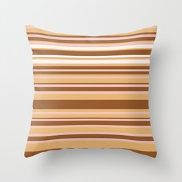 Coffee color stripes Throw Pillow