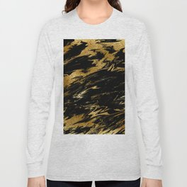 Luxury and sparkle gold glitter and black marble Long Sleeve T-shirt