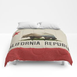 California Grizzly Bear Flag Comforters