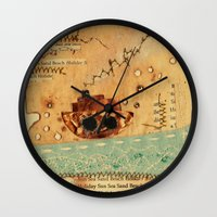 nautical Wall Clocks featuring Nautical by Ingrid Castile