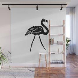Flamingo bird linocut art black and white minimal carving ink Wall Mural