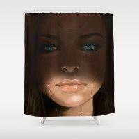 sci fi Shower Curtains featuring Sci Fi Face by Sean Higgins