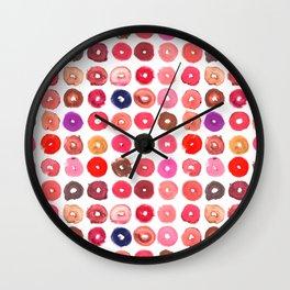 Lipstick Donuts Wall Clock
