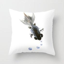 Black Fish, feng shui zen brush minimalist ink art design Throw Pillow