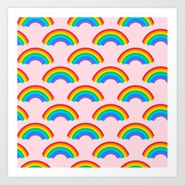 80s RAINBOW PATTERN WITH PASTEL PINK BACKGROUND Art Print