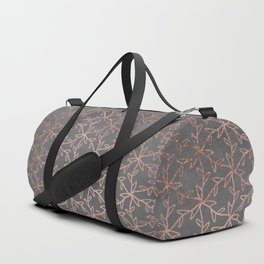 Modern abstract floral pattern rose gold on grey graphite cement concrete Duffle Bag