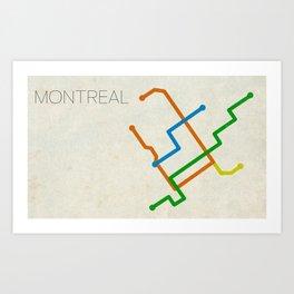 Minimal Montreal Subway Map Art Print