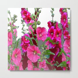 PINK- PURPLE COTTAGE  HOLLYHOCKS WHITE & GREY GARDEN Metal Print