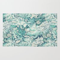 fig Area & Throw Rugs featuring Fig Leaf Fancy - a pattern in teal and grey by micklyn
