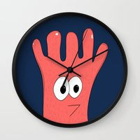 greg guillemin Wall Clocks featuring Monster Greg by Chelsea Herrick