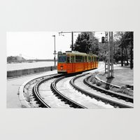 budapest Area & Throw Rugs featuring Budapest Tram by Dan Davidson