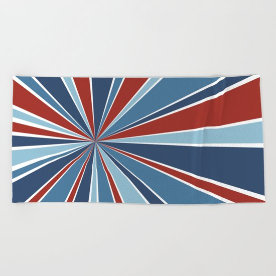 Star Burst Red White and Blue Beach Towel