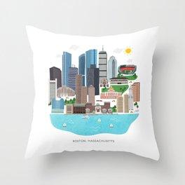 Boston Skyline Illustration Throw Pillow