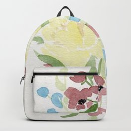 Yellow Loose Floral Bouquet watercolor painting Backpack