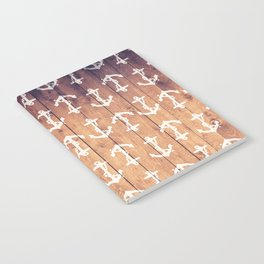Vintage White Nautical Anchors Pattern Brown Wood Notebook