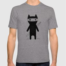 Ninja Cat X-LARGE Tri-Grey Mens Fitted Tee