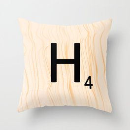 Scrabble Letter H - Large Scrabble Tiles Throw Pillow