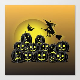 Pumpkins and witch in front of a full moon Canvas Print