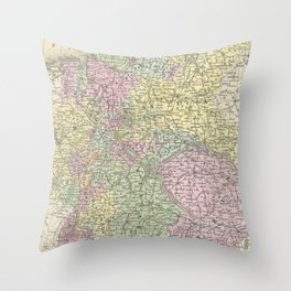 Vintage Map of Germany (1853)  Throw Pillow