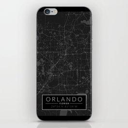 Orlando Map - Black and White (Dark) iPhone Skin